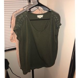 Pink Republic Tops - Olive green tee